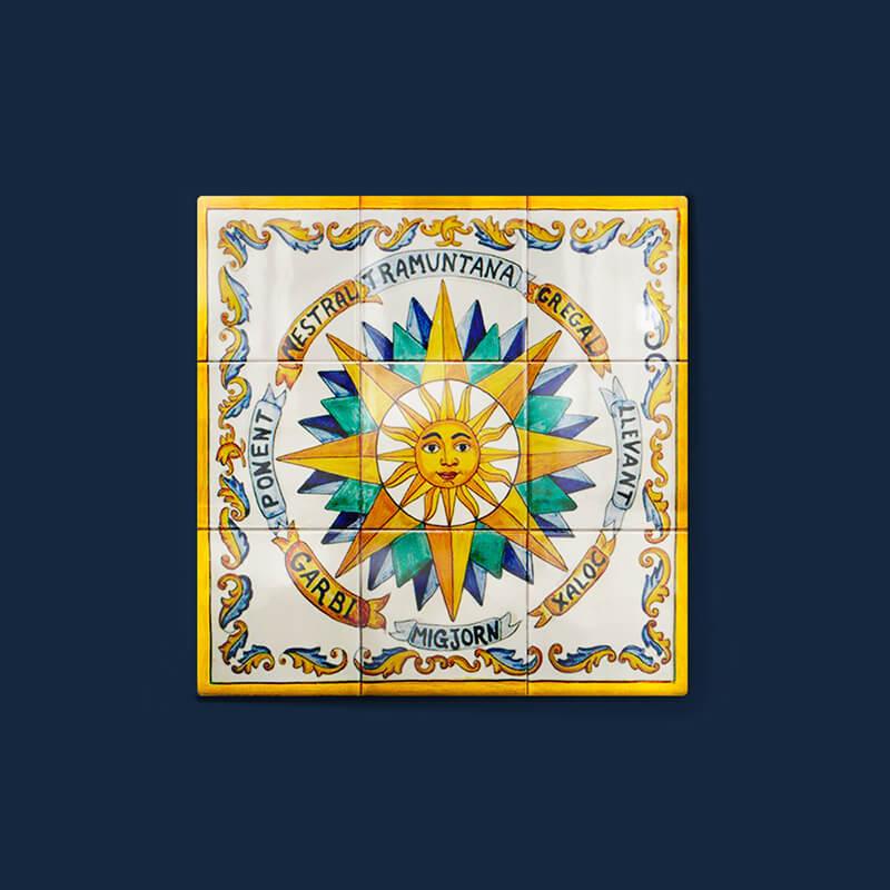 Mural conmemorativo artesanal de azulejos hecho totalmente a mano