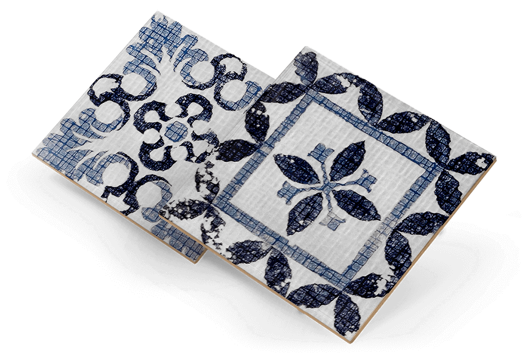 Azulejos con diseños diferentes y la misma aplicación de textura