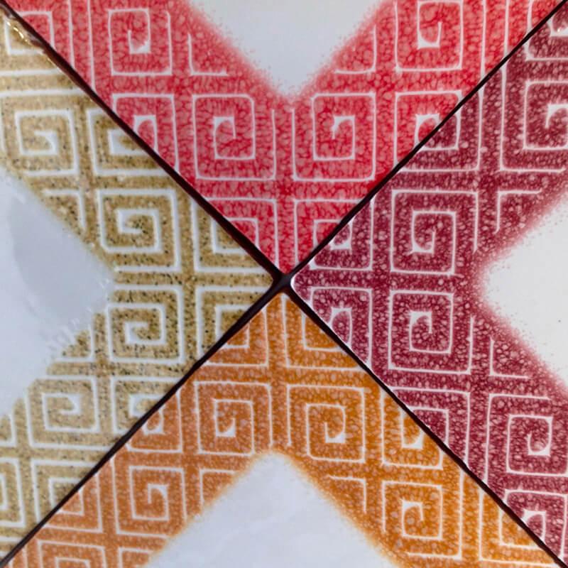 Azulejos con diferentes colores texturizados