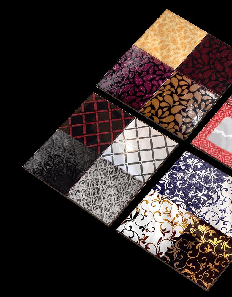 Azulejos con diferentes aplicaciones y combinaciones de color