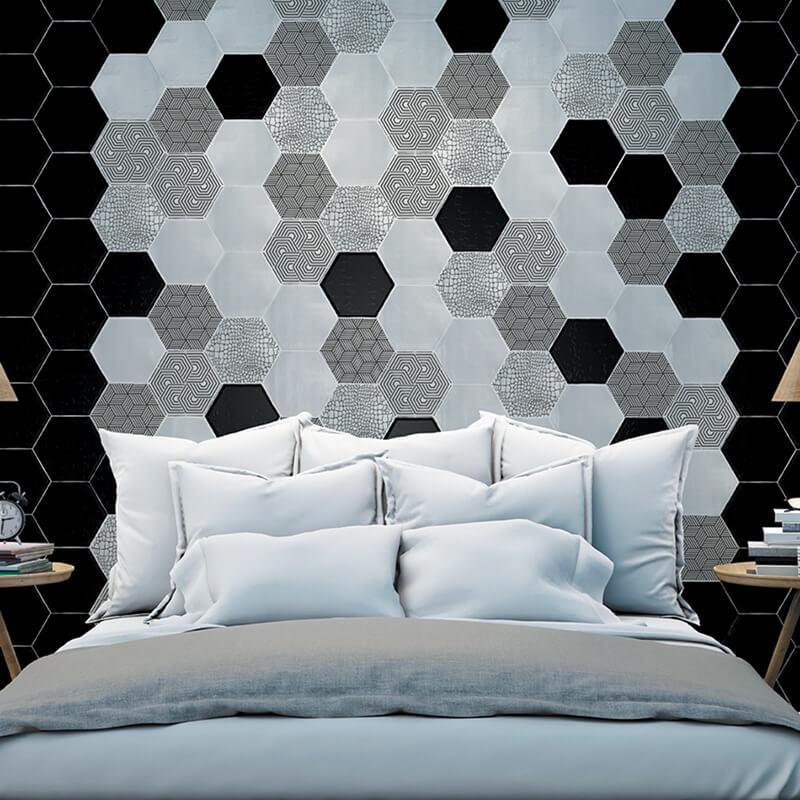 Aplicación de azulejos con diseño personalizado hexagonales para dormitorios.