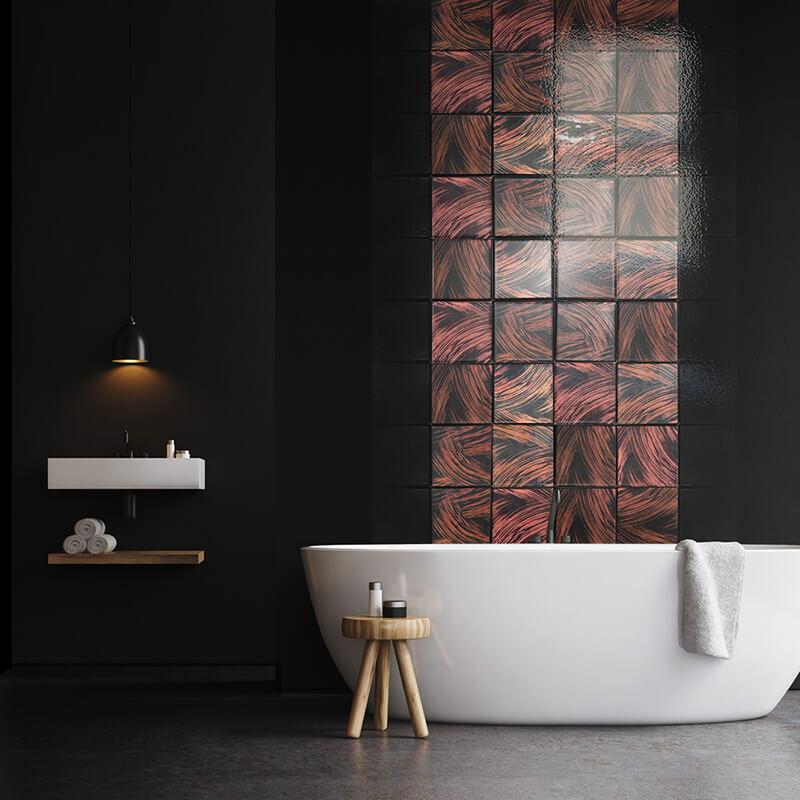 Azulejos personalizados aplicados a pared de baño