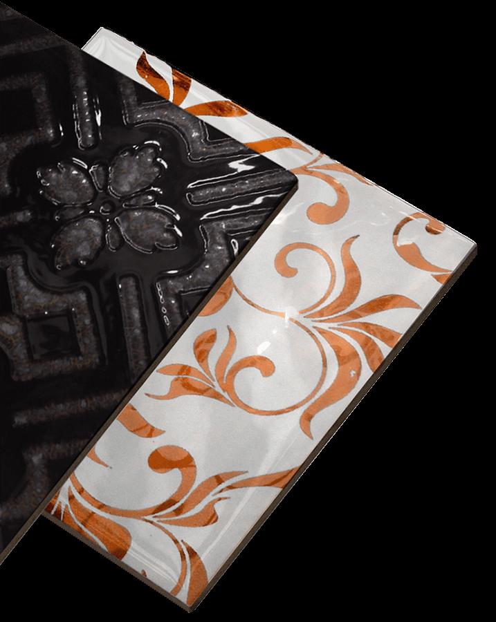 Texturas en relieve y pulidas aplicadas a azulejos de diferente diseño