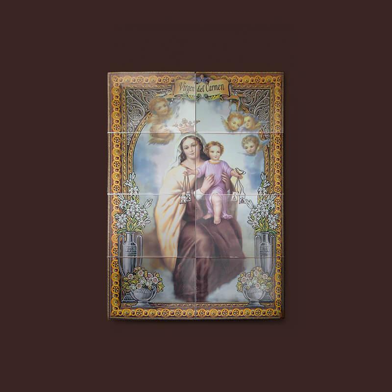 Mural religioso artesanal de azulejos hecho con fotocerámica digital