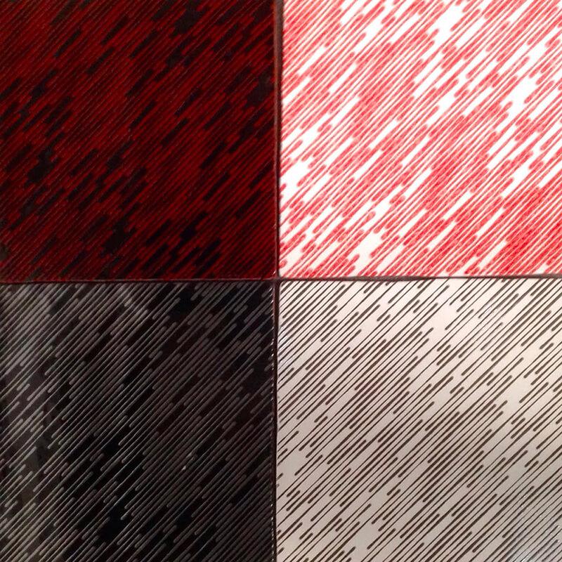 Azulejos con aplicación de texturas y colores diferentes a un mismo diseño