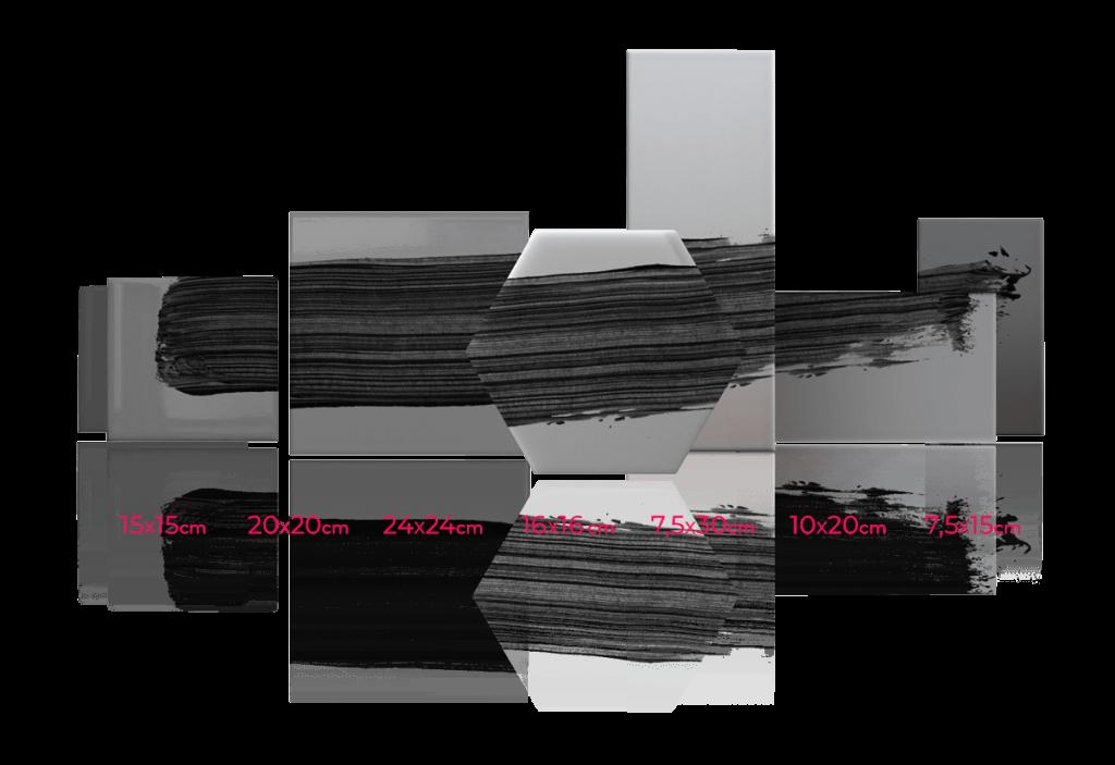 Diversidad de formatos para azulejos de diseño personalizado: cuadrados, horizontales y hexagonales